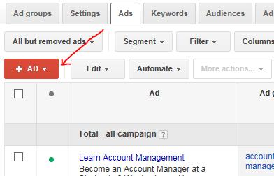 افزودن آگهی جدید - ساختار گوگل ادز