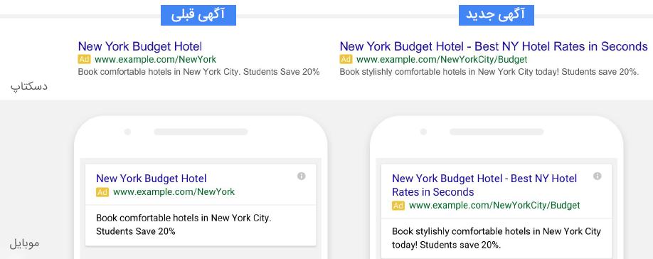 تغییرات آگهی متنی گوگل