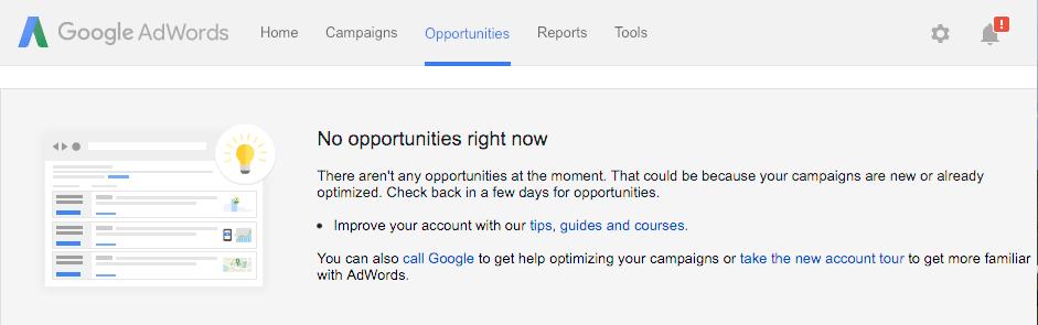 تب فرصت ها در گوگل ادوردز