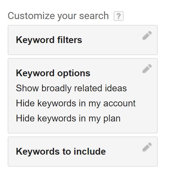 کلمات کلیدی در گوگل کیورد پلنر