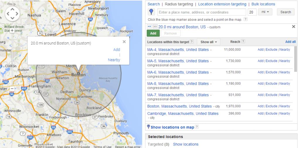 هدفگیری جغرافیایی در تعیین قیمت کلمات در گوگل