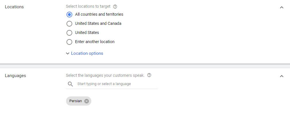 چگونه در گوگل تبلیغ کنیم؟ تنظیمات موقعیت مکانی و زبان در گوگل ادز
