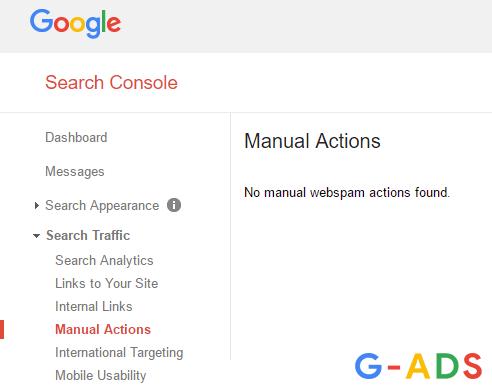 manual actions گوگل وبمستر تولز