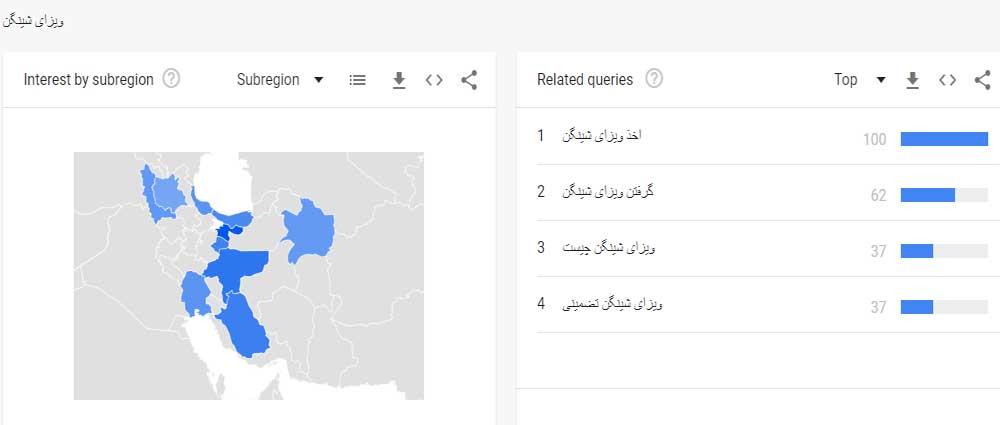 کلمات مرتبط با ویزایش شینگن در گوگل ترندز