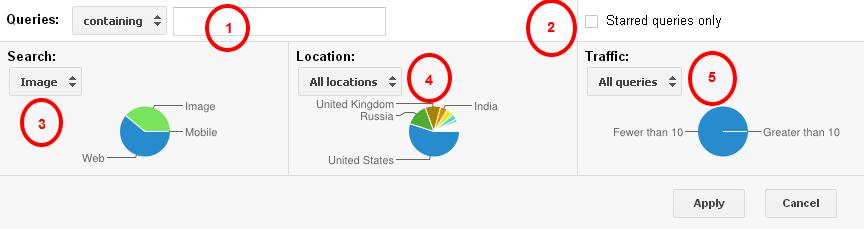 فیلترهای سرچ کوئری در گوگل وبمستر تولز