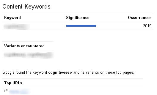 کلمات کلیدی محتوا در گوگل وبمستر تولز