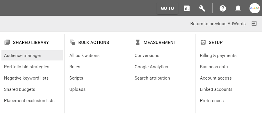 بر روی آیکون ابزار و سپس در بخش Shared library بر روی Audience manager کلیک کنید.