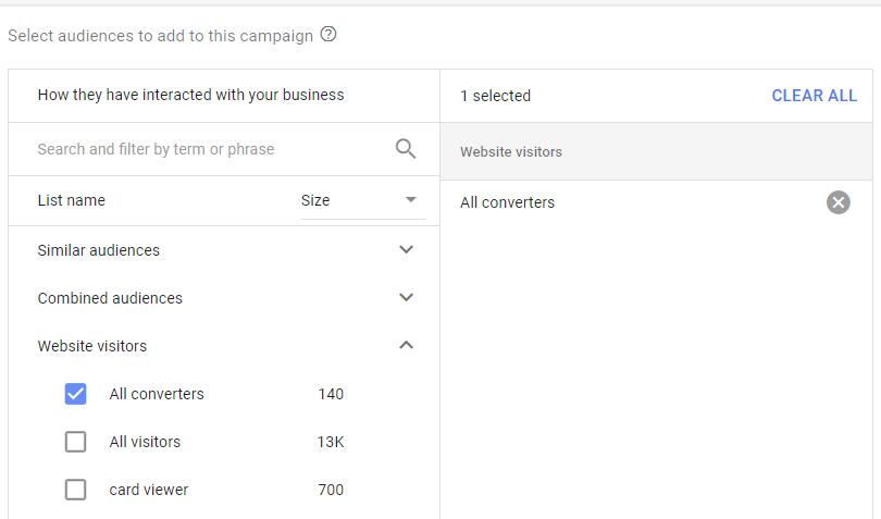 لیست مخاطبان ایجاد شده را در این بخش مشاهده میکنید و میتوانید هر یک از آنها را به کمپین خود اضافه کنید.