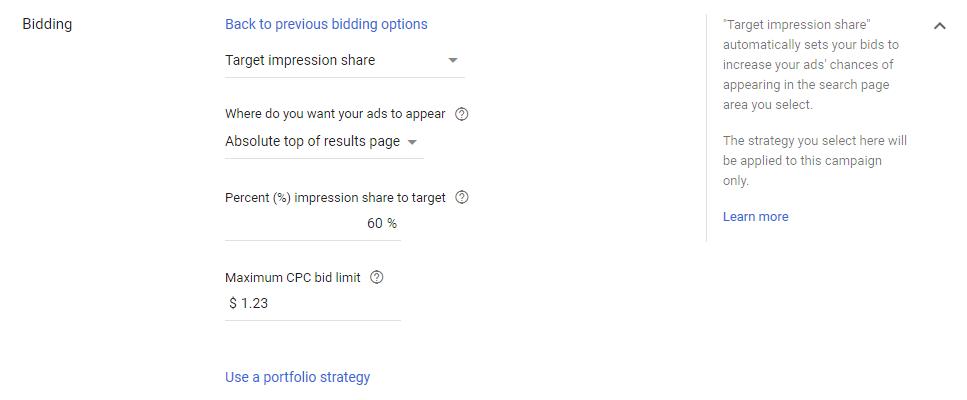target impression share - پرسش های گوگل ادز