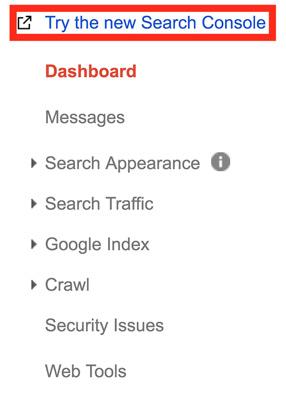 دسترسی به ورژن جدید گوگل سرچ کنسول