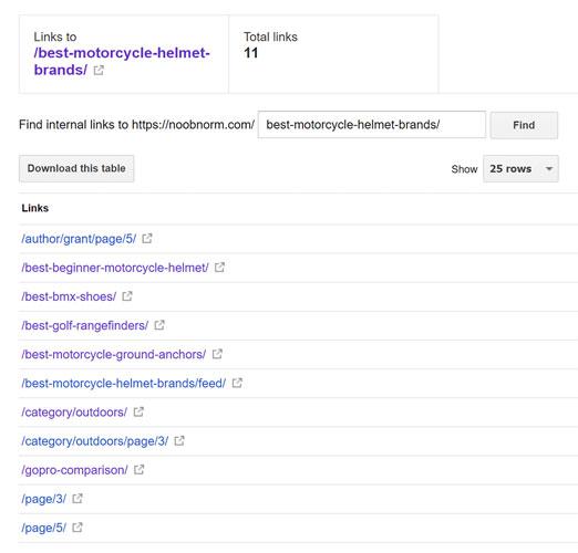 لیست صفحات لینک شده