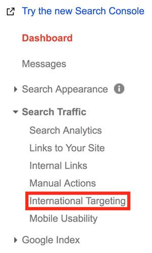 مشخص کردن کشور هدف در گوگل سرچ کنسول