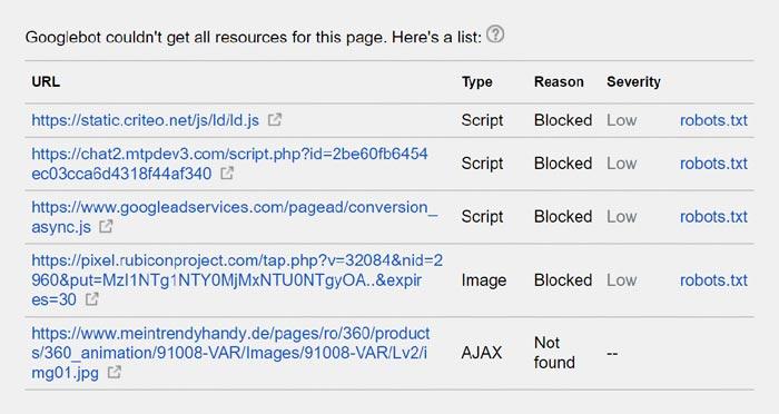 منابع خارج از دسترس گوگلبات