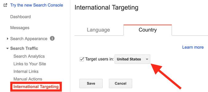 کشور هدف در گوگل سرچ کنسول