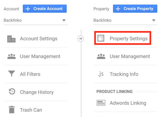 Property Settings در گوگل سرچ کنسول