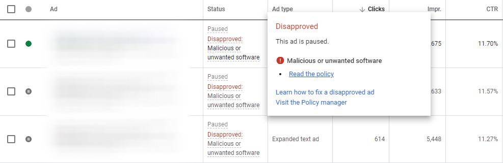 بررسی دیس اپرو شدن تبلیغات در گوگل ادز