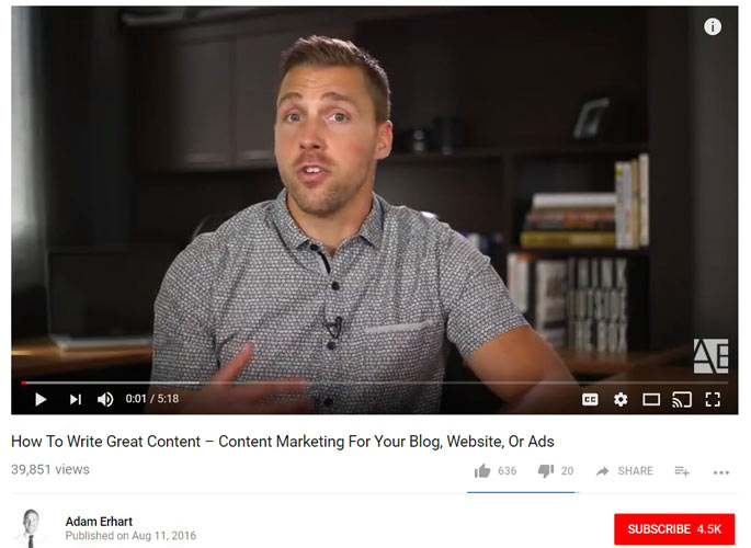 نمونه ای از کانال یوتیوب Adam Erhart
