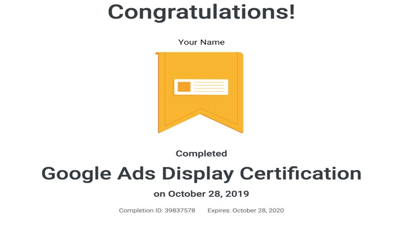 گواهینامه دیسپلی گوگل ادز