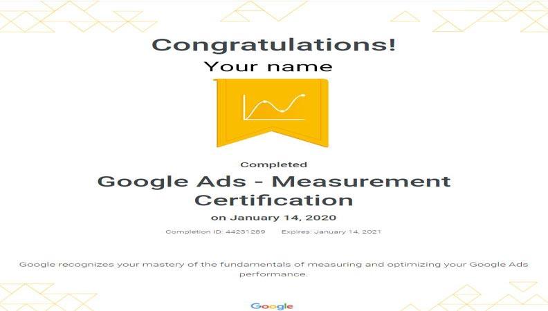 گواهینامه سنجش گوگل ادز