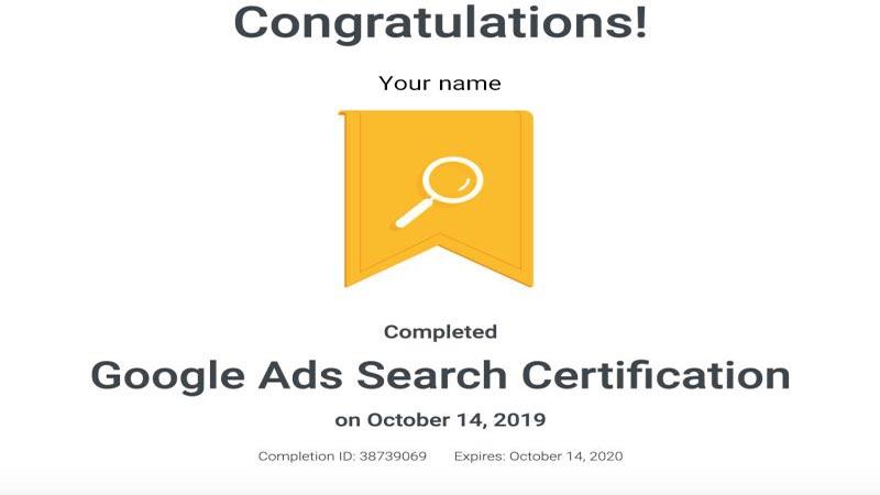 گواهینامه سرچ گوگل ادز