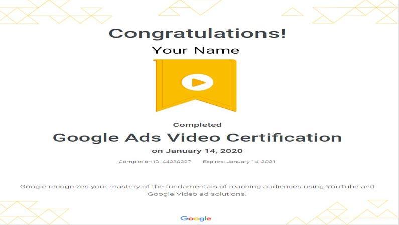 گواهینامه تبلیغات ویدیویی گوگل