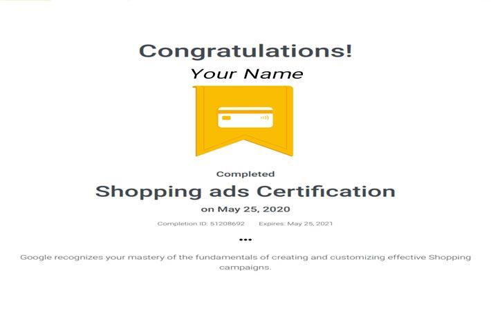 گواهینامه تبلیغات شاپینگ گوگل ادز