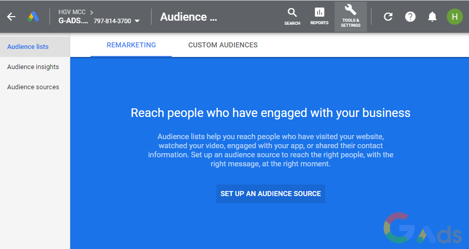 Set up an audience source