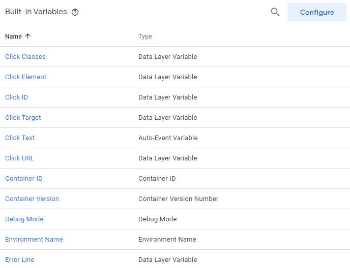 بخش built-in variables در گوگل تگ منیجر