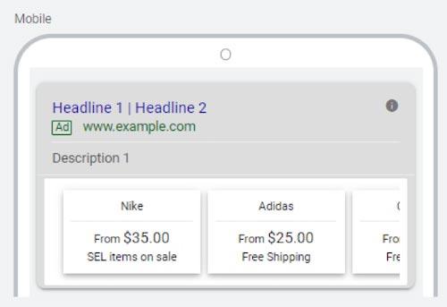پیش نمایش موبایل استفاده از افزونه قیمت در تبلیغات