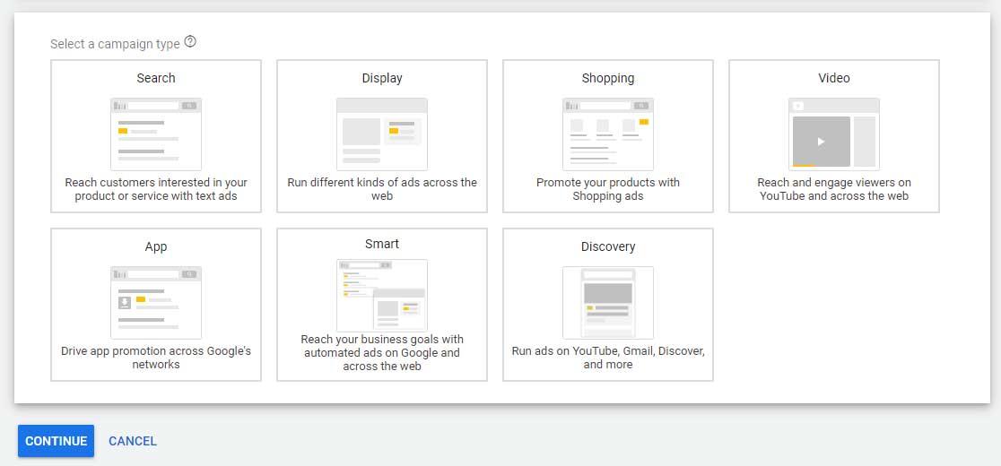 انواع کمپین های قابل اجرا در گوگل ادز