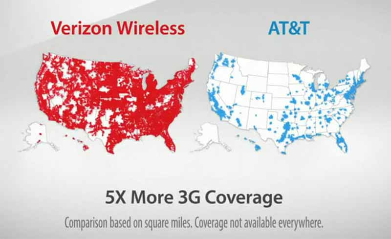 تبلیغات مقایسه ای شرکت Verizon در مقابل AT&T
