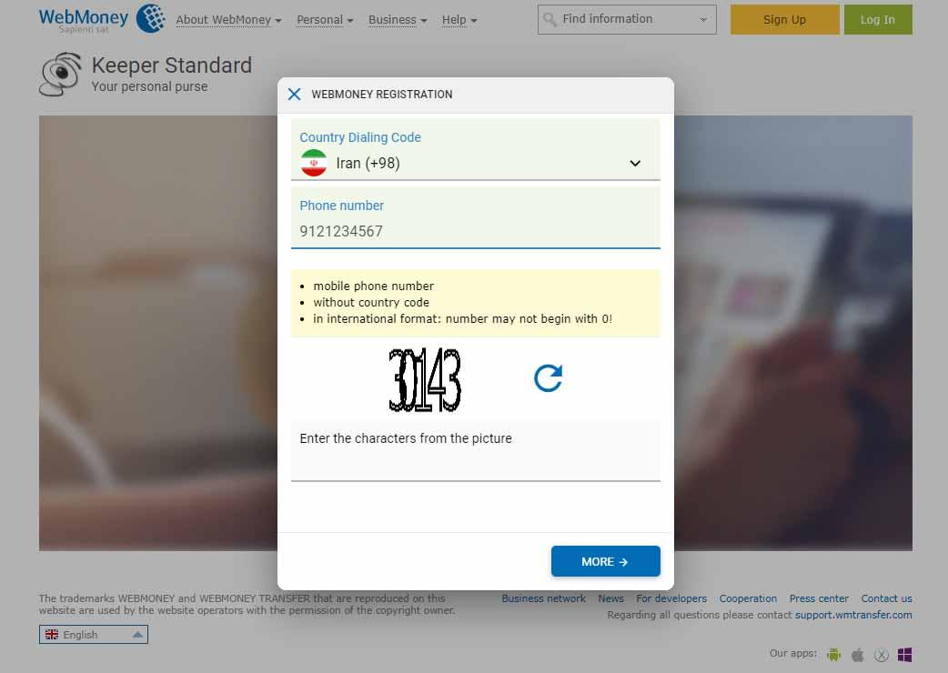 اضافه کردن شماره تلفن همراه برای ثبت نام در وب مانی