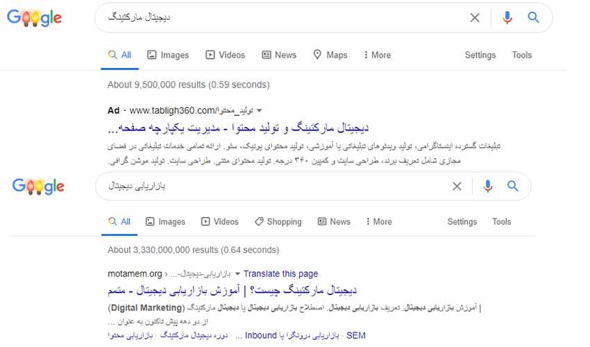 مثالی از تبلیغات دیجیتال مارکتینگ در گوگل ادز