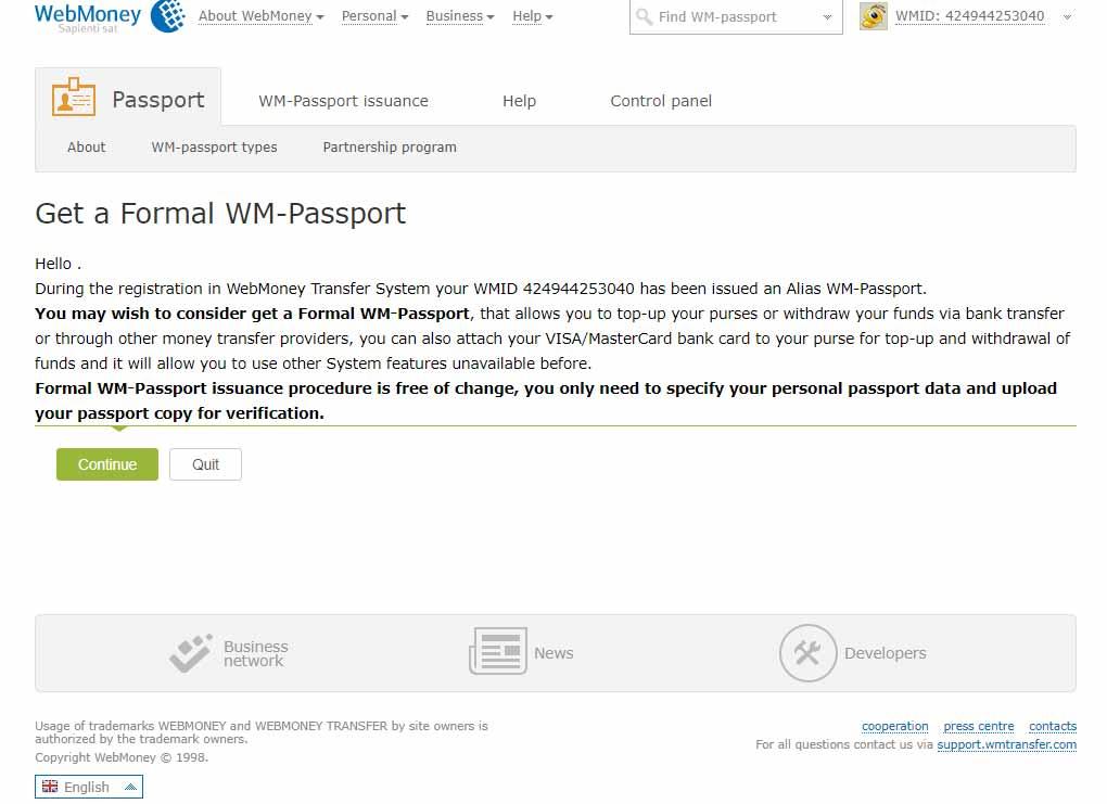 نحوه دریافت پاسپورت فورمال وب مانی