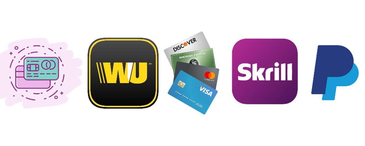 انتقال پول از طریق پی پال، اسکریل، وسترن یونیون، ویزا یا مستر و کیف پول الکترونیکی