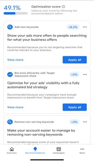 بخش Recommendation در برنامه موبایلی گوگل ادوردز