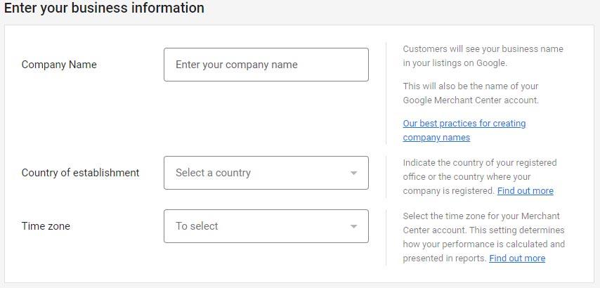 اطلاعات مورد نیاز از کسب و کار برای ثبت نام در گوگل مرچنت سنتر