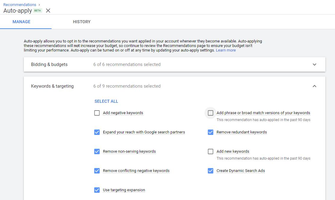 مدیریت بخش پیشنهادهای گوگل ادز