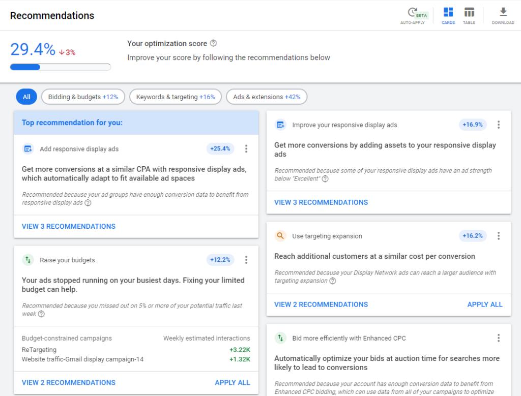 امتیاز بهینه سازی در گوگل ادز - بخش Optimization Score پیشنهادهای گوگل ادوردز