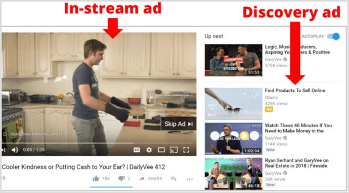انواع کمپین های تبلیغاتی گوگل ادوردز - مثالی از تبلیغات در یوتیوب