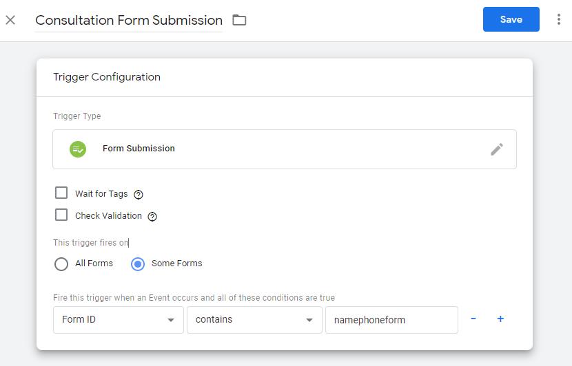 ایجاد تریگر برای ارسال فرم کانورژن google ads