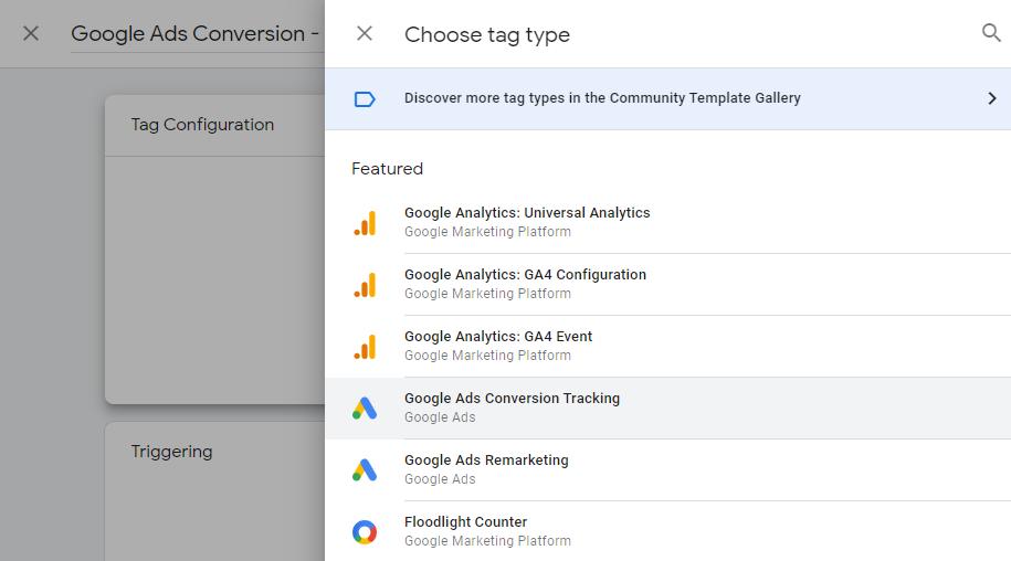 گوگل تگ منیجر انتخاب گوگل ادز کانورژن