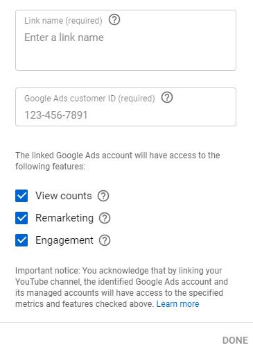 لینک یوتیوب و گوگل ادز