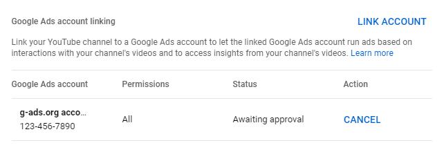 در انتظار تایید لینک یوتیوب به گوگل ادز